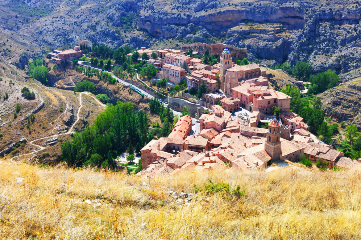 how to become a spanish resident - spanish mountains town in sunny day. Albarracin